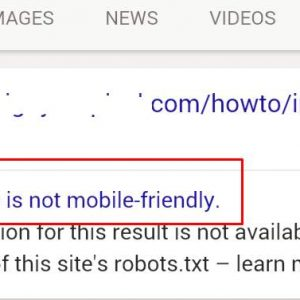 Houston Responsive Web Design - How it appears in the search results when a website isn't mobile-friendly. Google tags the website clearly in the search results, turning visitors away from the site.
